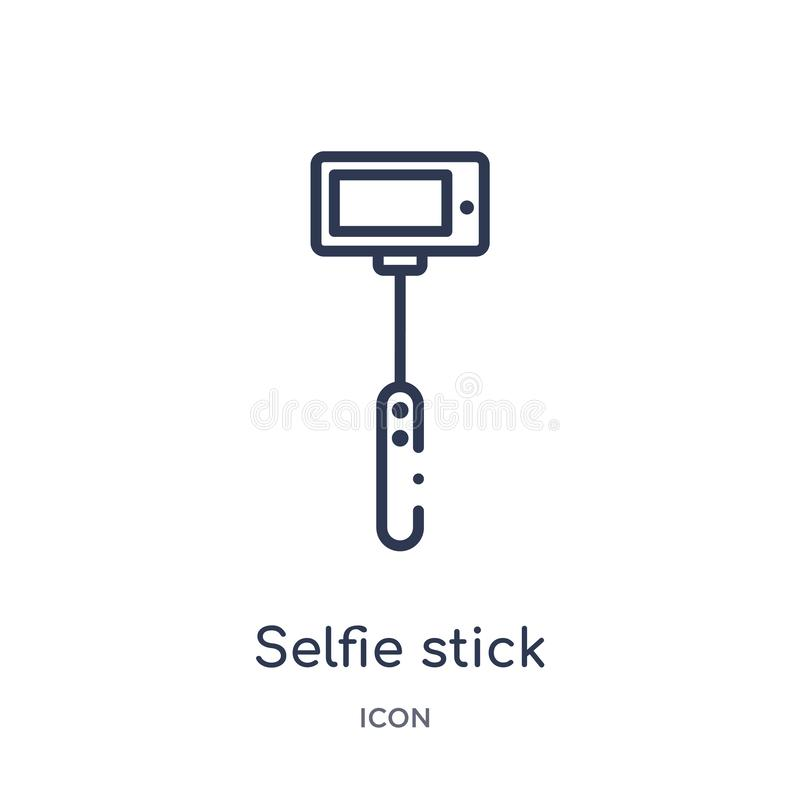 Linear selfie stick icon from Entertainment and arcade outline collection. Thin line selfie stick vector isolated on white stock illustration