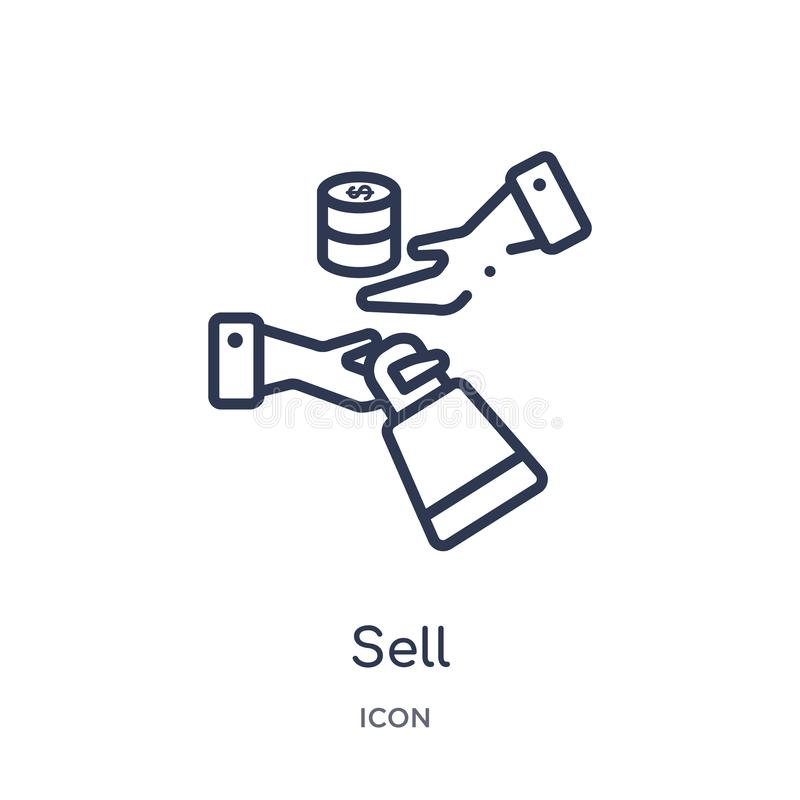 Linear sell icon from Cryptocurrency economy and finance outline collection. Thin line sell vector isolated on white background. stock illustration