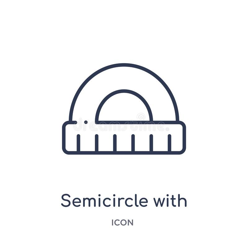 Linear semicircle with ruler icon from Education outline collection. Thin line semicircle with ruler icon isolated on white royalty free illustration