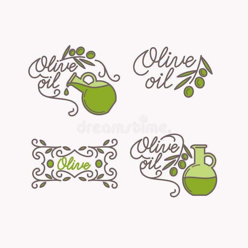 Linear set of logos olive oil. stock illustration