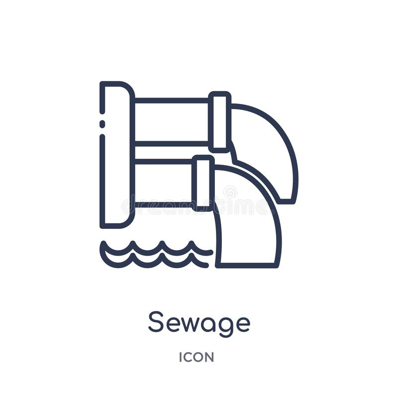 Linear sewage icon from Industry outline collection. Thin line sewage icon isolated on white background. sewage trendy vector illustration