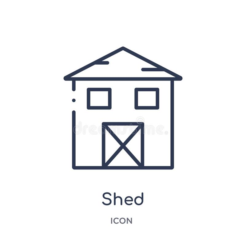 Linear shed icon from Agriculture farming and gardening outline collection. Thin line shed vector isolated on white background. royalty free illustration