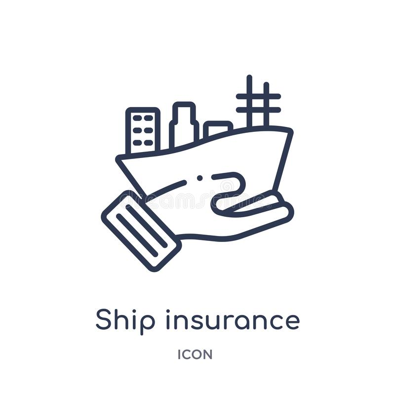 Linear ship insurance icon from Insurance outline collection. Thin line ship insurance icon isolated on white background. ship vector illustration