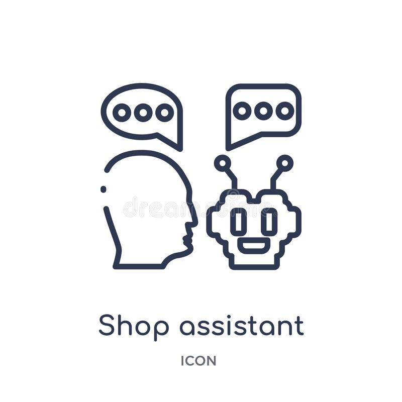 Linear shop assistant icon from Artificial intellegence and future technology outline collection. Thin line shop assistant vector vector illustration