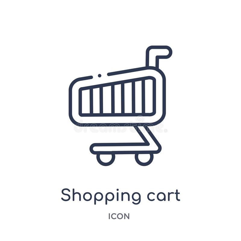 Linear shopping cart icon from Education outline collection. Thin line shopping cart vector isolated on white background. shopping stock illustration