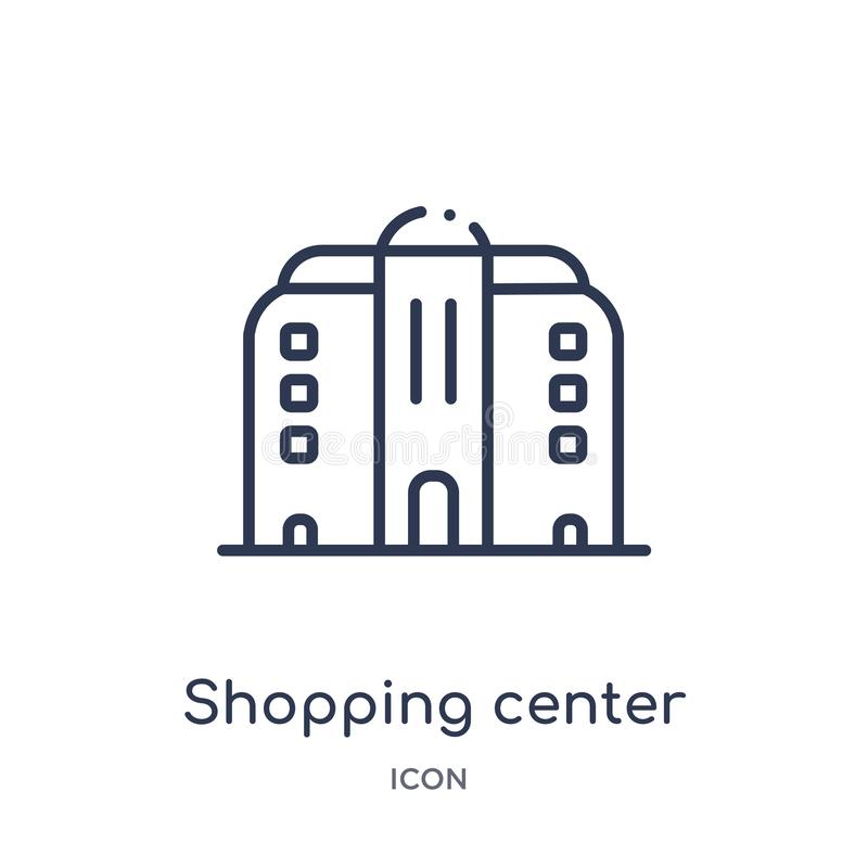 Linear shopping center icon from Architecture and travel outline collection. Thin line shopping center vector isolated on white vector illustration