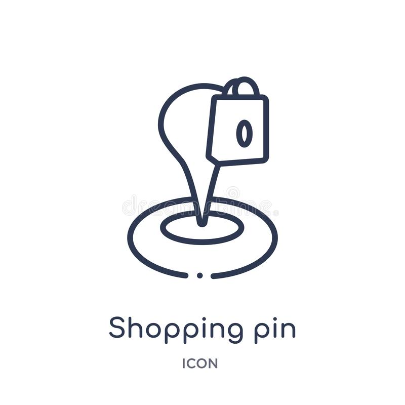 Linear shopping pin icon from Maps and locations outline collection. Thin line shopping pin icon isolated on white background. vector illustration