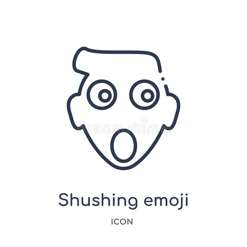 Linear shushing emoji icon from Emoji outline collection. Thin line shushing emoji vector isolated on white background. shushing. Emoji trendy illustration vector illustration