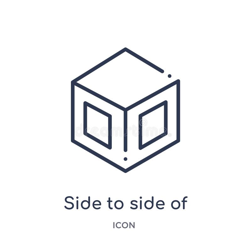 Linear side to side of a cube icon from Geometry outline collection. Thin line side to side of a cube icon isolated on white stock illustration
