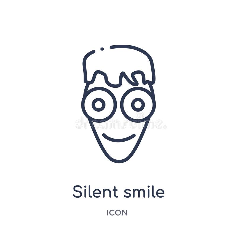 Linear silent smile icon from Emoji outline collection. Thin line silent smile vector isolated on white background. silent smile royalty free illustration