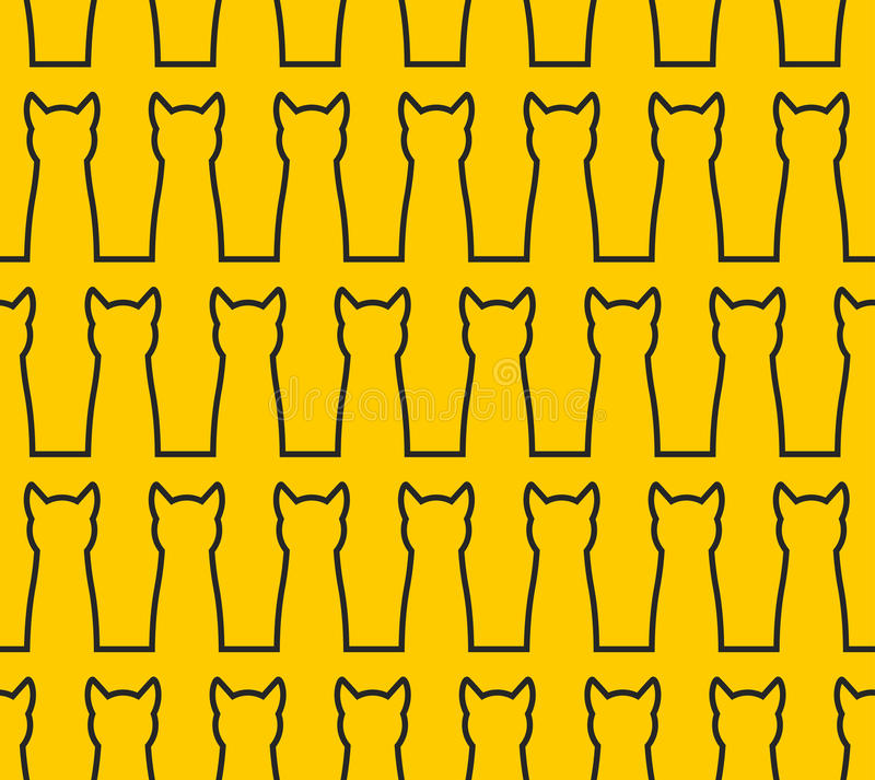 Linear Silhouette cat seamless pattern. Background of pet. Blac royalty free illustration