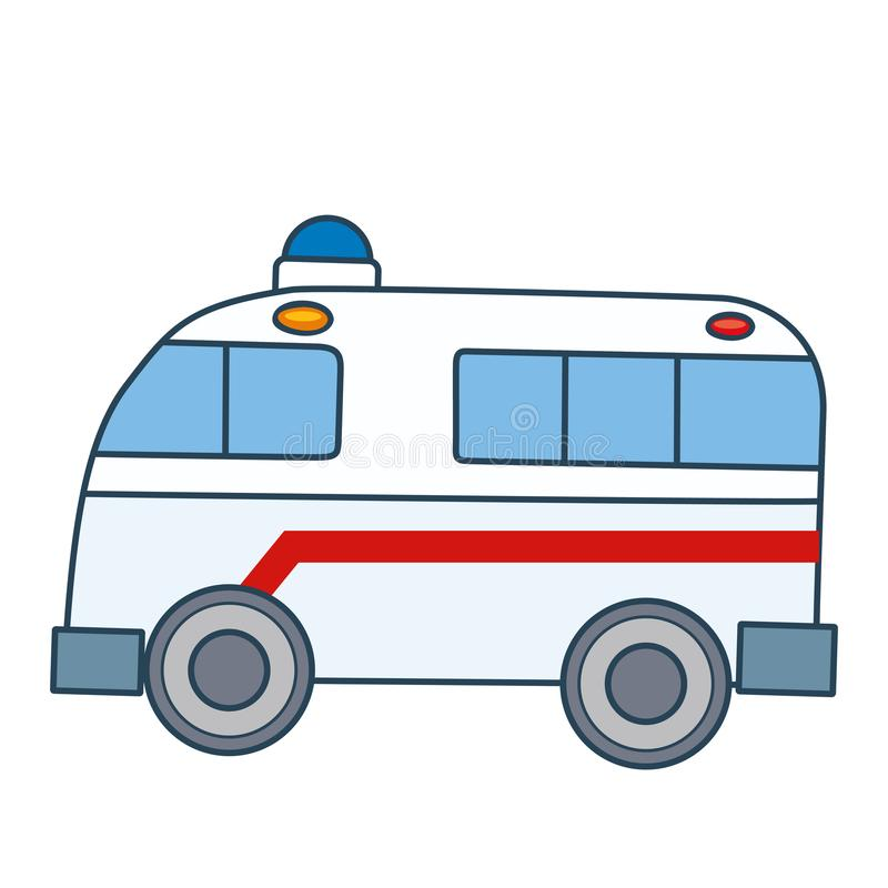Linear simple ambulance separated on white space. This is linear simple ambulance separated on white space ready to work. Simple and easy for display on any stock illustration