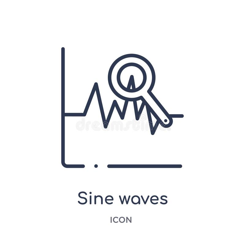 Linear sine waves analysis icon from Business and analytics outline collection. Thin line sine waves analysis vector isolated on. White background. sine waves royalty free illustration
