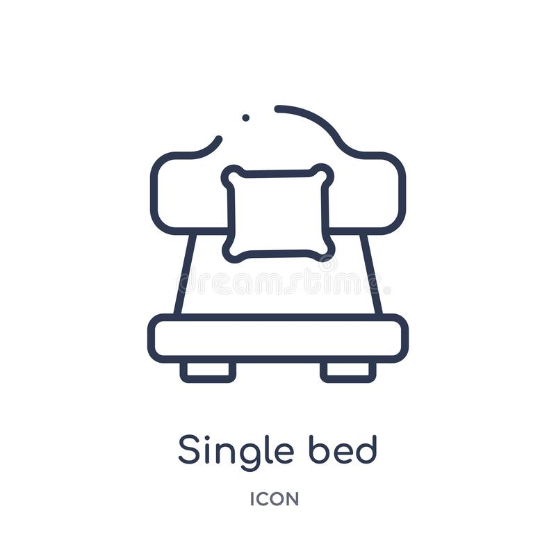 Linear single bed icon from Hotel and restaurant outline collection. Thin line single bed icon isolated on white background. royalty free illustration