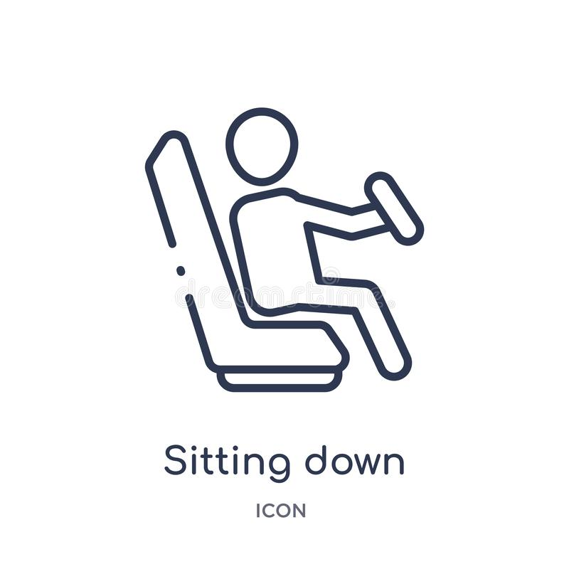 Linear sitting down icon from Humans outline collection. Thin line sitting down icon isolated on white background. sitting down stock illustration