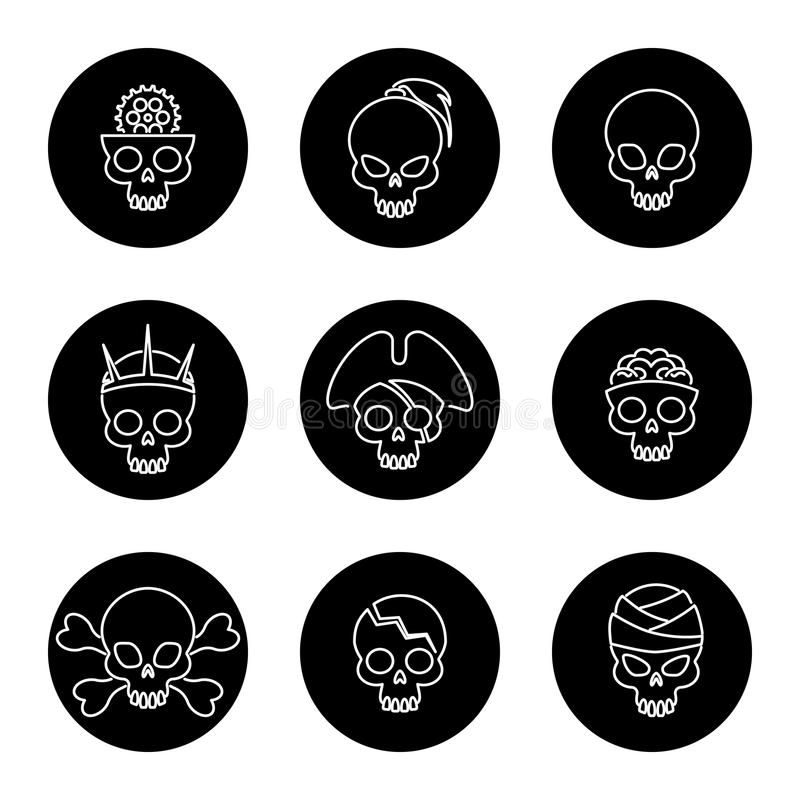 Linear skulls icons on black circles royalty free illustration