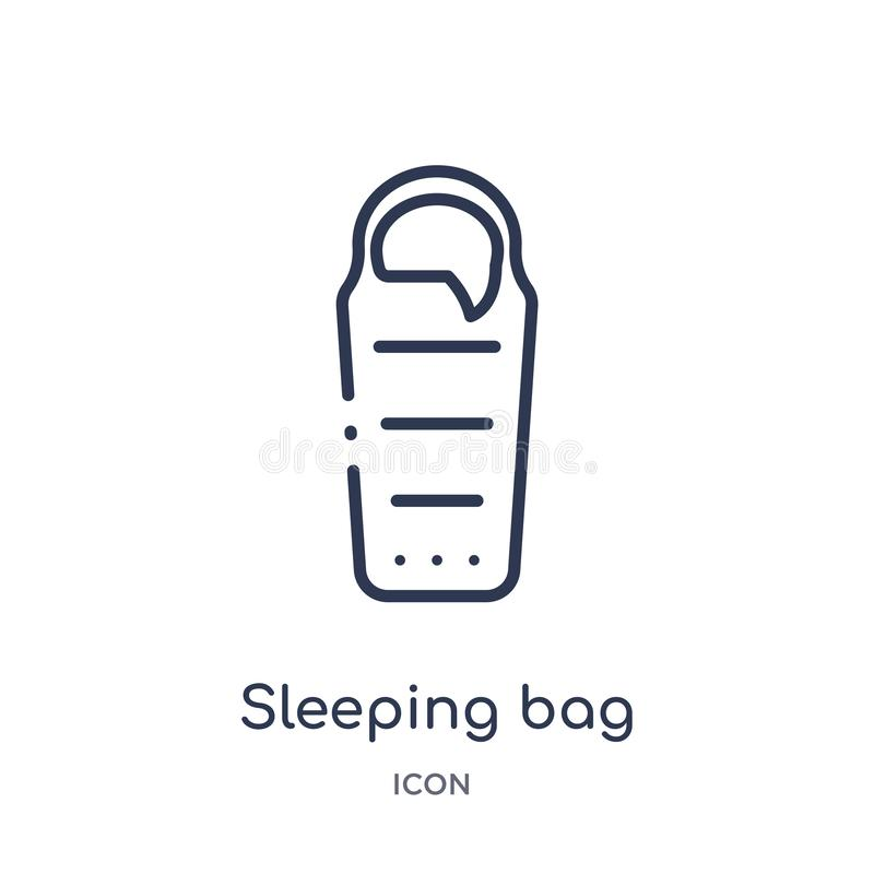 Linear sleeping bag icon from Camping outline collection. Thin line sleeping bag vector isolated on white background. sleeping bag vector illustration