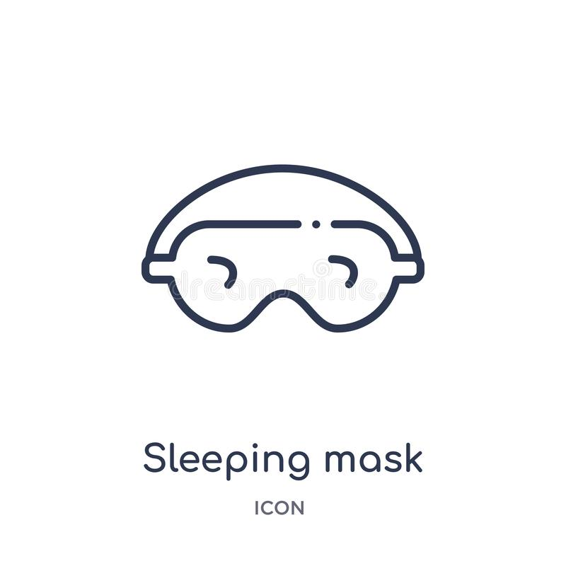 Linear sleeping mask icon from Fashion outline collection. Thin line sleeping mask icon isolated on white background. sleeping vector illustration