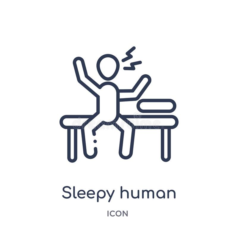 Linear sleepy human icon from Feelings outline collection. Thin line sleepy human vector isolated on white background. sleepy vector illustration