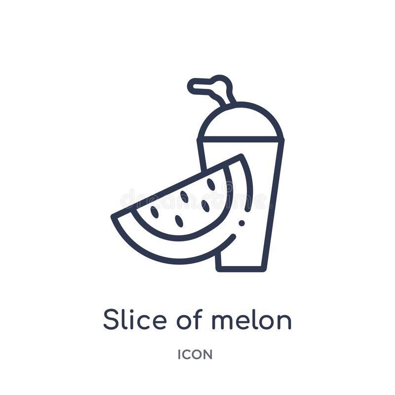 Linear slice of melon and juice icon from Food outline collection. Thin line slice of melon and juice icon isolated on white royalty free illustration