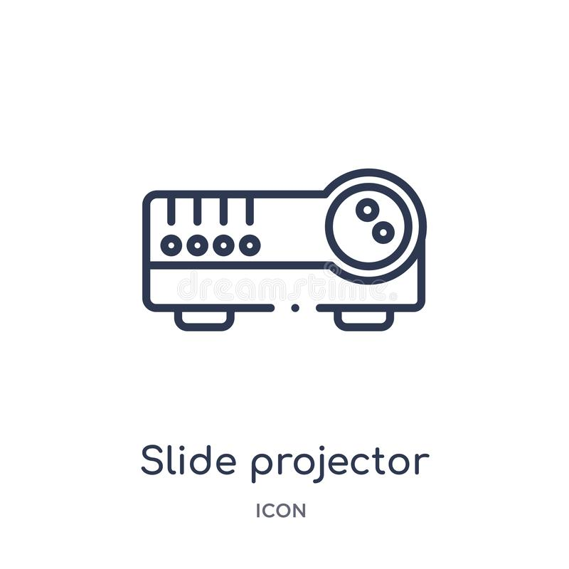 Linear slide projector icon from Cinema outline collection. Thin line slide projector vector isolated on white background. slide. Projector trendy illustration vector illustration
