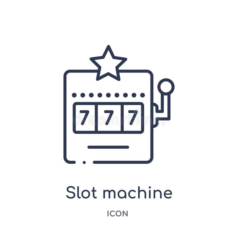 Linear slot machine icon from Entertainment and arcade outline collection. Thin line slot machine vector isolated on white stock illustration