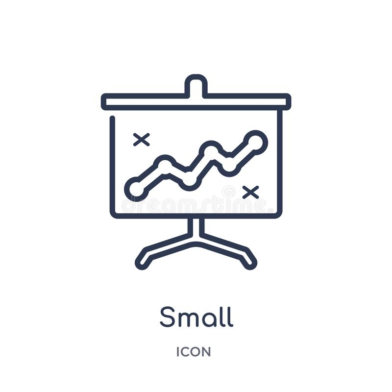 Linear small presentation board icon from Business outline collection. Thin line small presentation board icon isolated on white stock illustration