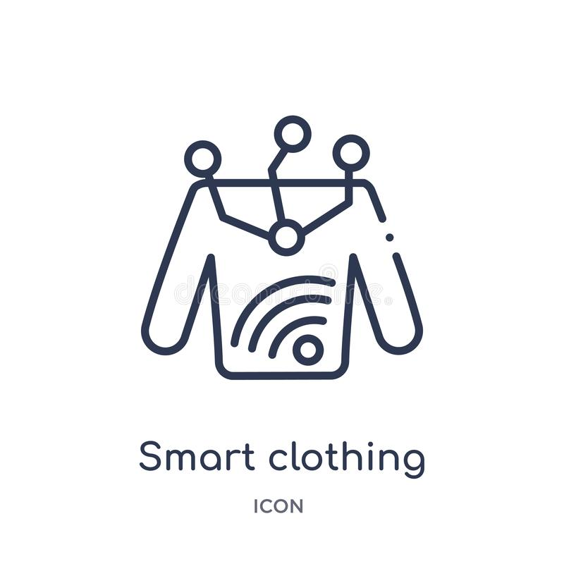 Linear smart clothing icon from Future technology outline collection. Thin line smart clothing icon isolated on white background. Smart clothing trendy royalty free illustration
