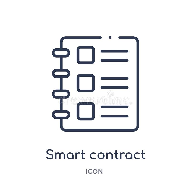 Linear smart contract icon from General outline collection. Thin line smart contract icon isolated on white background. smart vector illustration