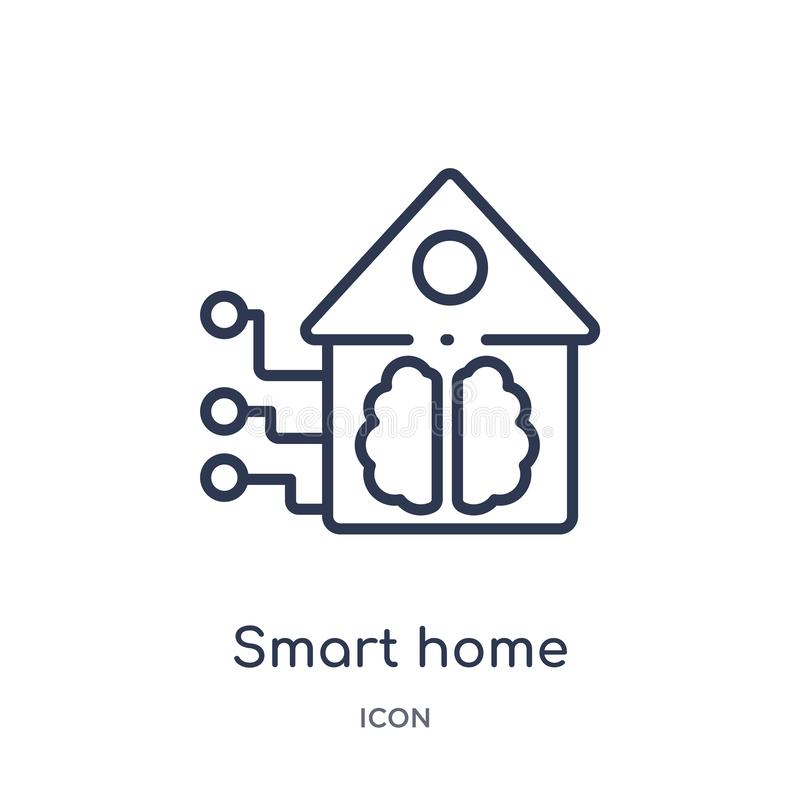 Linear smart home icon from Artificial intellegence and future technology outline collection. Thin line smart home vector isolated royalty free illustration