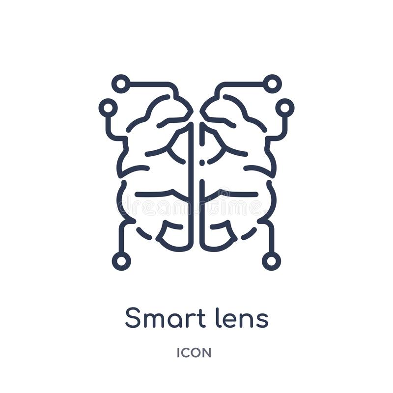Linear smart lens icon from Artificial intellegence and future technology outline collection. Thin line smart lens vector isolated. On white background. smart royalty free illustration
