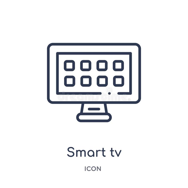 Linear smart tv icon from Electronic devices outline collection. Thin line smart tv vector isolated on white background. smart tv stock illustration