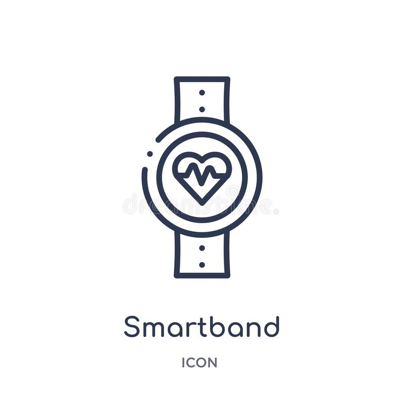 Linear smartband icon from Electronic devices outline collection. Thin line smartband vector isolated on white background. Smartband trendy illustration royalty free illustration