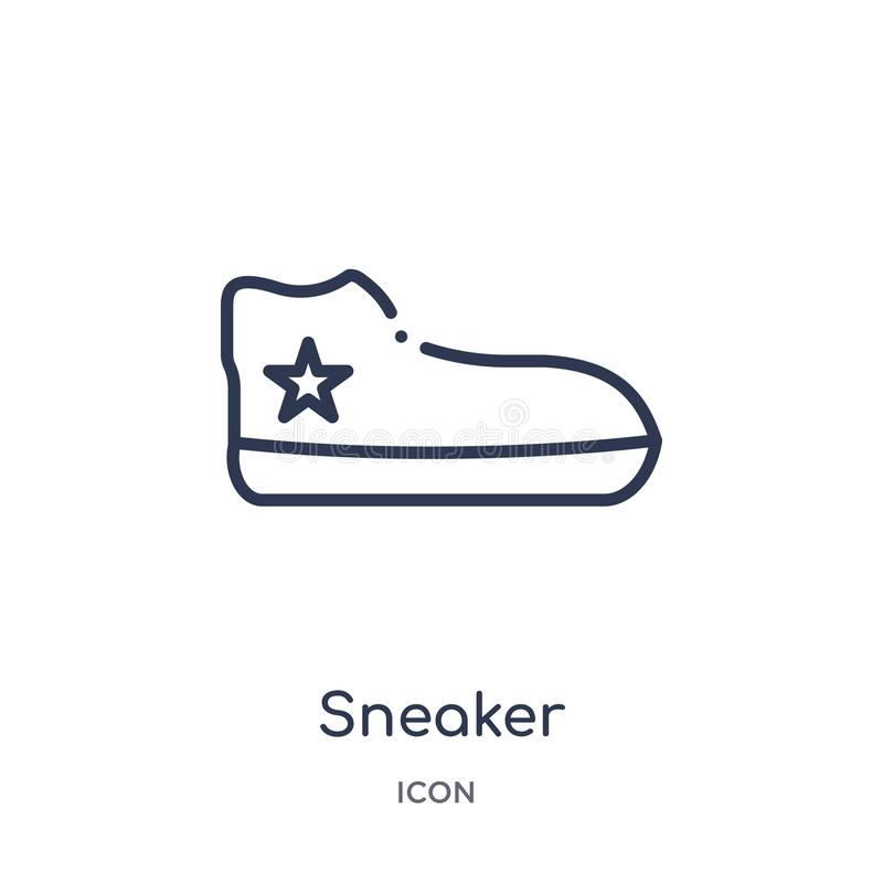 Linear sneaker icon from Clothes outline collection. Thin line sneaker vector isolated on white background. sneaker trendy royalty free illustration