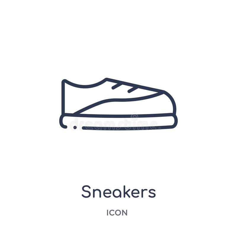 Linear sneakers icon from Gym equipment outline collection. Thin line sneakers icon isolated on white background. sneakers trendy stock illustration