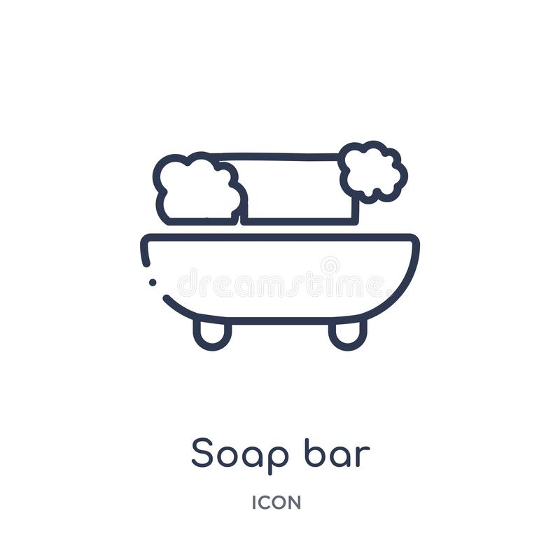 Linear soap bar icon from Beauty outline collection. Thin line soap bar vector isolated on white background. soap bar trendy. Illustration stock illustration