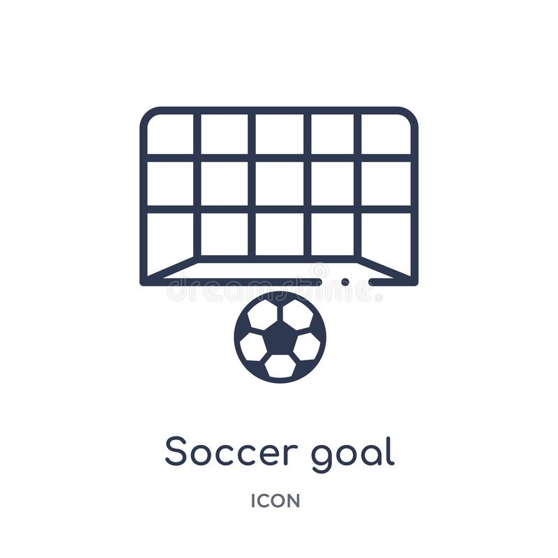 Linear soccer goal icon from Football outline collection. Thin line soccer goal vector isolated on white background. soccer goal. Trendy illustration royalty free illustration