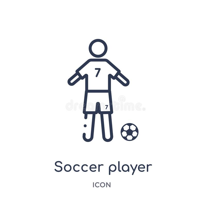 Linear soccer player icon from Football outline collection. Thin line soccer player vector isolated on white background. soccer. Player trendy illustration royalty free illustration