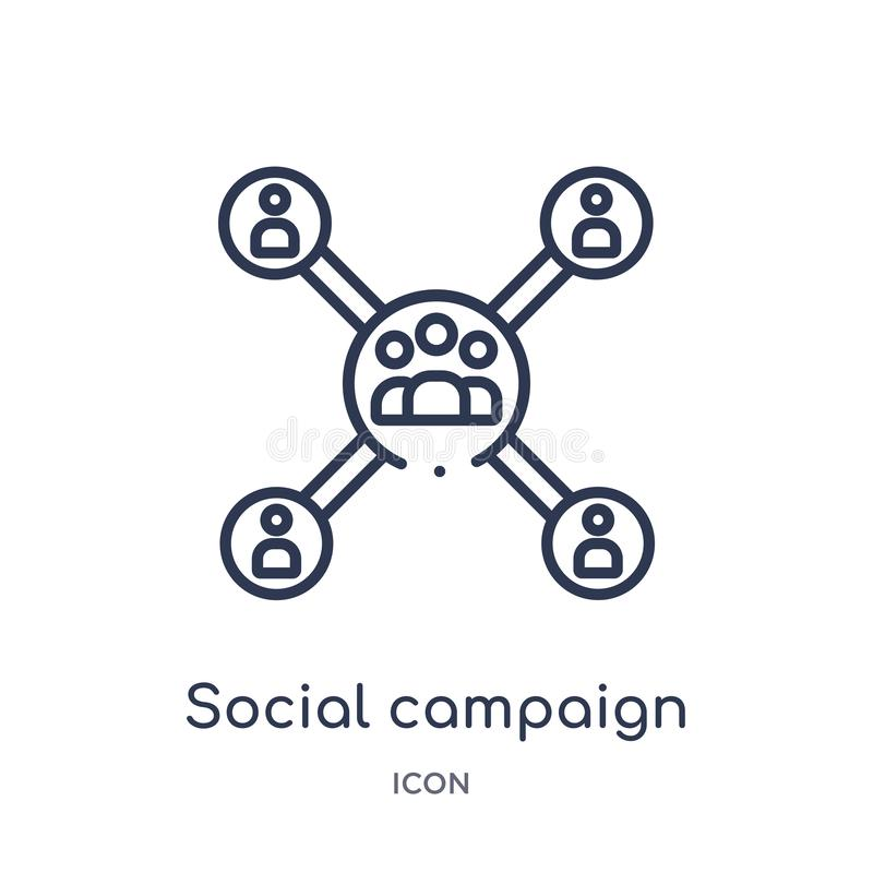 Linear social campaign icon from General outline collection. Thin line social campaign icon isolated on white background. social royalty free illustration