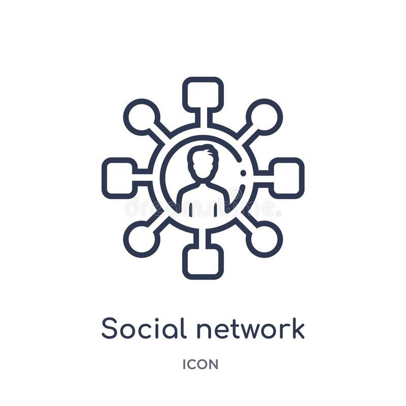 Linear social network icon from Blogger and influencer outline collection. Thin line social network vector isolated on white vector illustration