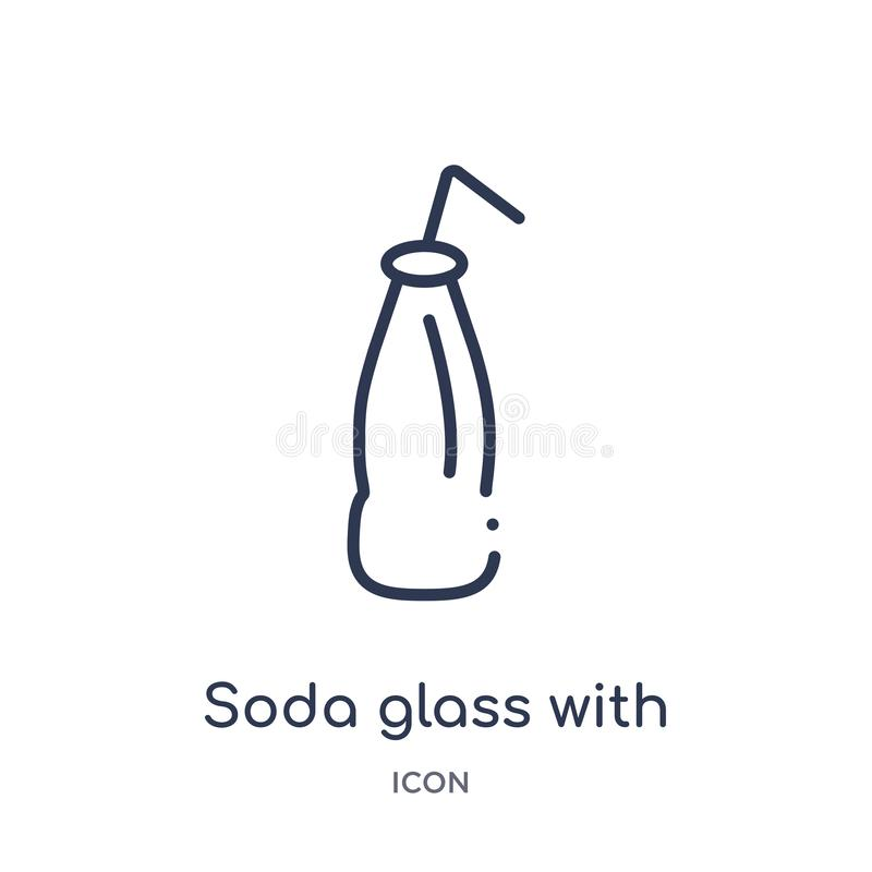 Linear soda glass with a straw icon from American football outline collection. Thin line soda glass with a straw vector isolated royalty free illustration