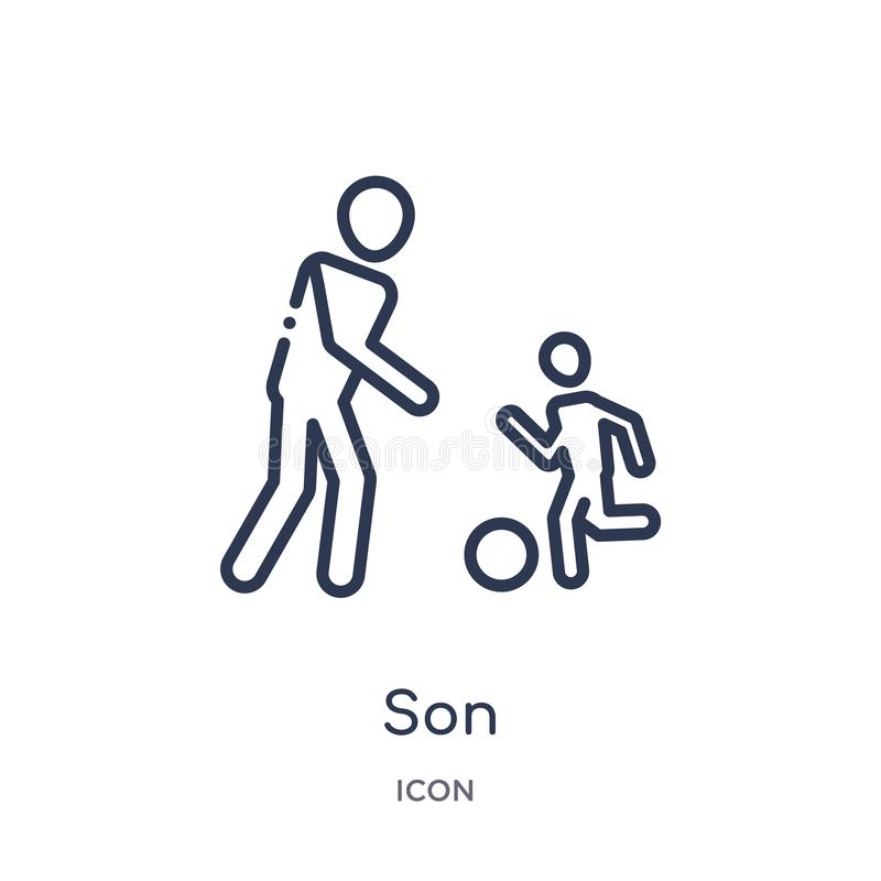 Linear son icon from Family relations outline collection. Thin line son vector isolated on white background. son trendy royalty free illustration