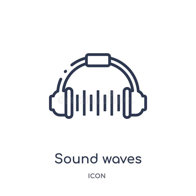 Linear sound waves icon from Discotheque outline collection. Thin line sound waves vector isolated on white background. sound. Waves trendy illustration royalty free illustration