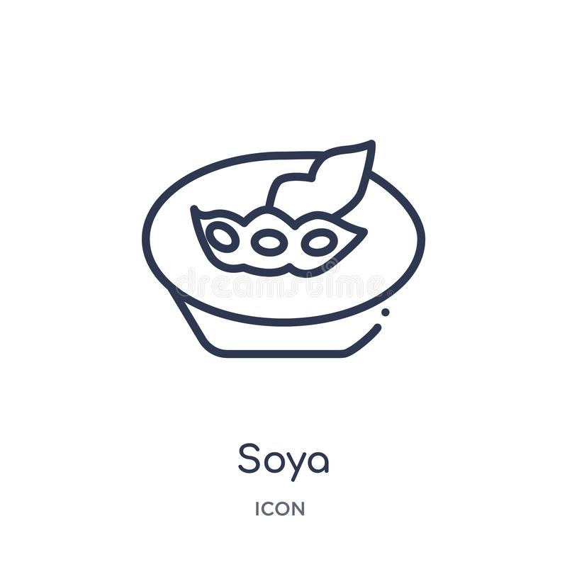 Linear soya icon from Food and restaurant outline collection. Thin line soya icon isolated on white background. soya trendy royalty free illustration