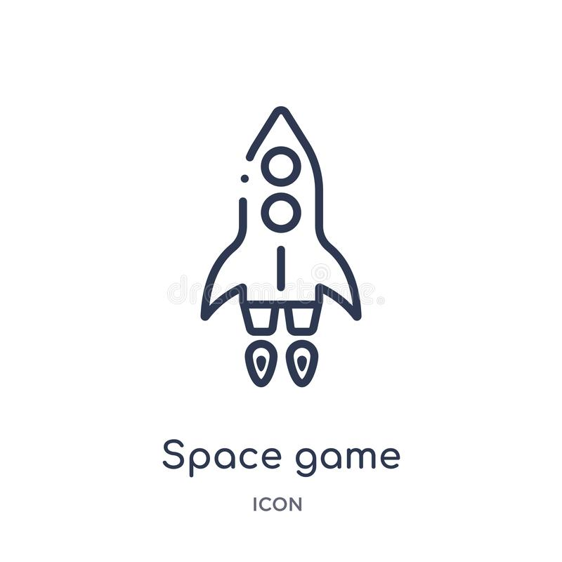 Linear space game icon from Entertainment and arcade outline collection. Thin line space game vector isolated on white background royalty free illustration