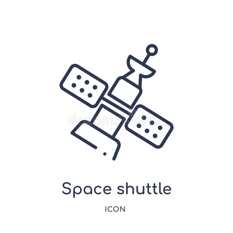 Linear space shuttle icon from Astronomy outline collection. Thin line space shuttle vector isolated on white background. space stock illustration