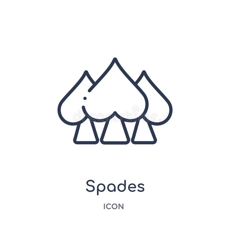 Linear spades icon from Entertainment and arcade outline collection. Thin line spades vector isolated on white background. spades vector illustration