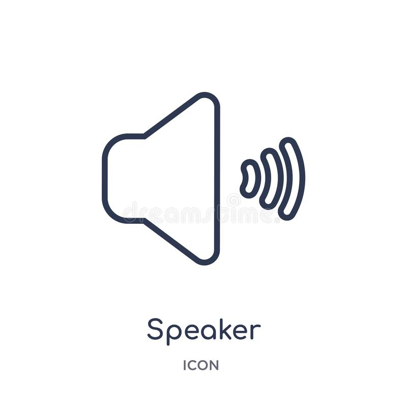 Linear speaker icon from Electronic stuff fill outline collection. Thin line speaker vector isolated on white background. speaker stock illustration