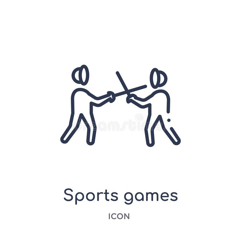 Linear sports games icon from Greece outline collection. Thin line sports games icon isolated on white background. sports games royalty free illustration