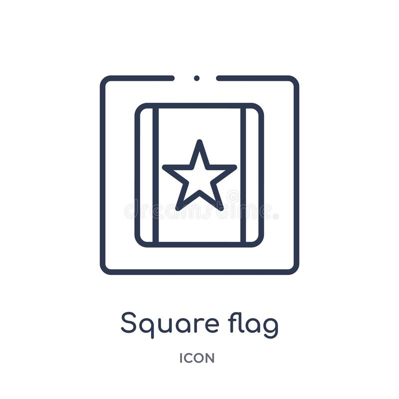 Linear square flag icon from Maps and Flags outline collection. Thin line square flag icon isolated on white background. square vector illustration
